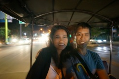 Taking a tuk tuk to dinner on the first night