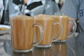 Mugs of Teh Tarik (pulled tea) - I was addicted to this sweet, frothy milk tea