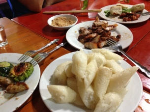 Sticky rice and grilled meat in Sapa