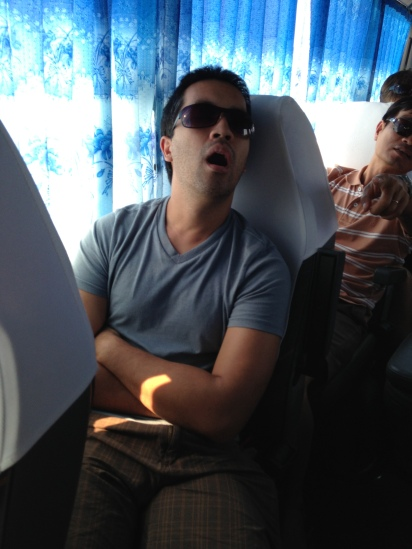 Open-mouth sleeping on the bus back to Ha Noi