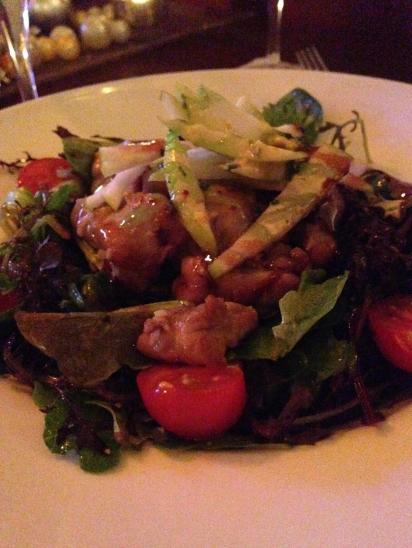 Sweetbread and crawfish salad.