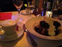Profiteroles de la maison and café creme for dessert.